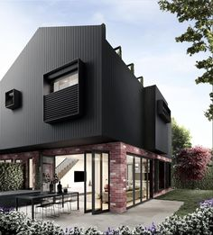 Combination of brick and another material. Window coverings on second floor Modern Architecture House, Residential Architecture, Modern House Design, Architecture Design, Modern House Facades, Architecture Sketches, House Cladding, Facade House, Black Cladding