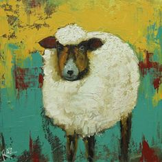 Sheep painting 6 12x12 inch original oil painting by Roz by RozArt, $95.00