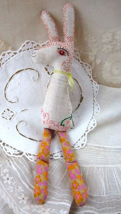 Baby Bean the Hand Embroidered Fabric Hare: by murgatroydandbean