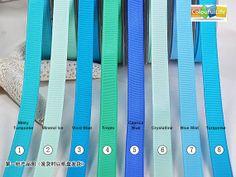 1. Misty Turquoise 2. Mineral Ice 3. Vivid Blue 4. Tropic 5. Caprice Blue 6. Crystalline 7. Blue Mist 8. Turquoise