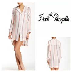 "Free People Sleep Shirt Stripes and paisley print runs the length of this silky menswear-inspired, hi-lo back sleep shirt. - Notched collar - Long sleeves - Front button closure - Single chest pocket - Allover print - Approx. 33"" long  - Color:  Gardenia Combo Fiber Content: 100% rayon Care: Hand wash. (1) Free People Intimates & Sleepwear"