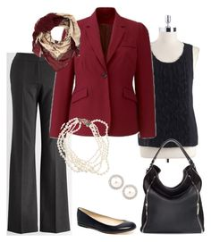 Plus Size Business Suit by kentuckyfashion on Polyvore featuring Rafaella, Calvin Klein, KORS Michael Kors, Zara, J.Crew, Dorothy Perkins, pearl earrings, pearl multi-strand necklace, burgundy and cream map scarf and plus size black slacks