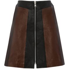 Warehouse Patchwork Leather Skirt ($49) ❤ liked on Polyvore featuring skirts, mini skirts, other, real leather skirt, print skirt, short brown skirt, print mini skirt and patterned skirts