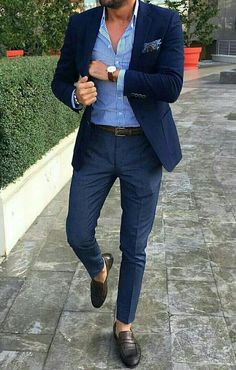 The Blue Suit Collection is part of Blazer outfits men www montreldemet com - Blue Blazer Outfit Men, Blazer Outfits Men, Mens Fashion Blazer, Mens Fashion Wear, Stylish Mens Outfits, Suit Fashion, Look Fashion, Blazer With Jeans Men, Men Blazer