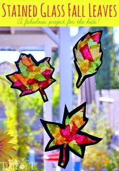 """stained glass """"whatever"""" with tissue paper, glue, and wax paper. My kids LOVED this and they came out super cool. We did whole trees and hearts to keep the shapes easy. glass crafts for kids wax paper Stained Glass Fall Leaves Craft (with template) Autumn Leaves Craft, Autumn Crafts, Fall Crafts For Kids, Autumn Art, Thanksgiving Crafts, Toddler Crafts, Crafts To Do, Holiday Crafts, Art For Kids"""
