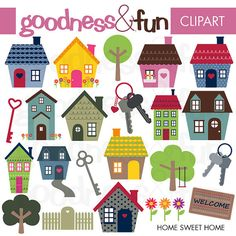 Buy 2 Get 1 FREE Home Sweet Home Clipart von goodnessandfun