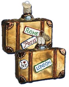 Suitcase | World Traveler Old World Christmas Glass Ornaments