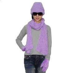 3 PIECE SET: Womens Cosy Fluffy Thermal Winter Scarf, Hat & Gloves Set Purple. More description on the website.
