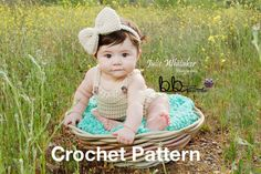 Romper and Headband with Bow - PDF PATTERN ONLY - Crochet - Size 6 month
