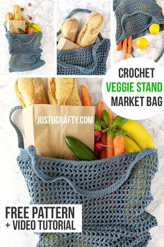 Veggie Stand Mark Bag - Free Crochet Pattern & Video Tutorial : Learn to crochet this trendy Veggie Stand Market bag along with me and the video tutorial! Free crochet pattern and video tutorial by Just Be Crafty. Crochet Diy, Fast Crochet, Crochet Simple, Crochet Video, Mode Crochet, Crochet Tote, Crochet Purses, Crochet Crafts, Crochet Projects