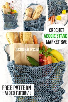 Veggie Stand Mark Bag - Free Crochet Pattern & Video Tutorial : Learn to crochet this trendy Veggie Stand Market bag along with me and the video tutorial! Free crochet pattern and video tutorial by Just Be Crafty. Mode Crochet, Crochet Diy, Crochet Tote, Crochet Purses, Learn To Crochet, Crochet Crafts, Crochet Projects, Tutorial Crochet, Crochet Clutch Bags