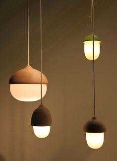 These little modern/stylized acorn lights are beautiful. Terho & Tatti Lamps by Maija Puoskari - NordicDesign Home Lighting, Lighting Design, Lighting Stores, Pendant Lighting, Blitz Design, Deco Luminaire, I Love Lamp, Brass Lamp, Deco Design