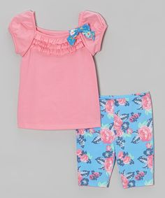 Another great find on #zulily! Pink Ruffle Bow Tee & Blue Floral Shorts - Infant, Toddler & Girls by Kidtopia #zulilyfinds