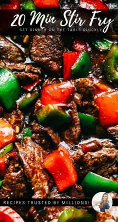 Amazing Pepper Steak Stir Fry 20 minute stir fry with beef and fresh crunchy peppers is tonights perfect dinner, pair with rice Asian Recipes, Beef Recipes, Cooking Recipes, Healthy Recipes, Easy Steak Recipes, Stir Fry Recipes, Pepper Steak Stir Fry, Beef Stir Fry Sauce, Pf Changs Pepper Steak Recipe
