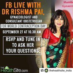 #Repost @thehealthsite_india with @repostapp ・・・ For World Contraception Day, we are organizing a FB live session tomorrow (27 September) where our expert, Dr Rishma Pai, a Gynaecologist and Consultant Obstetrician will talk about birth control measures and bust myths about condoms, emergency contraception pills and other forms of birth control. Join us at 10:30 on Facebook.com/thehealthsite/  #contraception #worldcontraceptionday #condoms #birthcontrol #worldcontraceptionday2016 #WCD2016