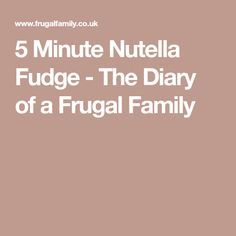 5 Minute Nutella Fudge - The Diary of a Frugal Family