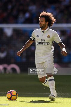 Marcelo Vieira Da Silva of Real Madrid in action during their La Liga match between Real Madrid and Deportivo Leganes at the Estadio Santiago Bernabeu on 06 November 2016 in Madrid, Spain. Ronaldo Real Madrid, Real Madrid Football Club, Best Football Team, Messi And Ronaldo, Cristiano Ronaldo, Marcelo Real, Play Soccer, European Football, Man Humor