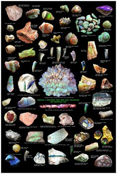 Eight stunning opal posters for collectors/retailers Minerals And Gemstones, Rocks And Minerals, Raw Gemstones, Poster S, Rock Collection, Beautiful Rocks, Mineral Stone, Rocks And Gems, Healing Stones