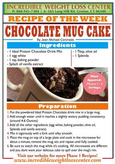 Ideal protein chocolate mug cake Protein Desserts, Protein Foods, Protein Recipes, Protein Power, No Carb Recipes, Diet Recipes, Recipies, Ideal Protein Alternatives, Ideal Protein Phase 1