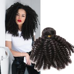 "3Bundles 16"" 150g Real Human Hair Extension Virgin Kinky Curly Hair Weft New #Unbranded"