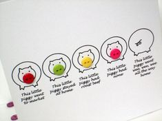 5 Little Pigs Card - Piggy Card - Nursery Rhyme Card with Buttons on Etsy, $5.89