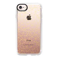 Geo Gold Transparent - iPhone 7 Case And Cover (115.850 COP) ❤ liked on Polyvore featuring accessories, tech accessories, iphone case, iphone cases, iphone cover case, gold iphone case, apple iphone case and clear iphone case