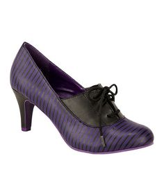 Loving this Purple & Black Stripe Oxford Pump on #zulily! #zulilyfinds