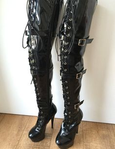 15cm Platform Laceup 60cm Mid-Thigh Goth Punk Pinup Cosplay Patent Fetish boots