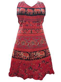 Red Sleeveless Vintage Tunic Dress Elephant Print Cotton Sundress Mogul Interior http://www.amazon.com/dp/B00NBRJQZ4/ref=cm_sw_r_pi_dp_Lr3hub104X26N