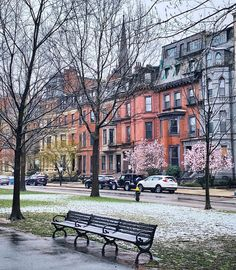 "Bret Clancy on Instagram: ""Brownstones, blooms, and...snow.  It all melted by this morning — and we're now on track for a beautiful spring day in Boston. ❄️🌸🤷🏻‍♂️…"" Spring Day, In Boston, Massachusetts, Track, Bloom, Snow, Mansions, House Styles, Beautiful"