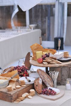 rustic cheese, bread and fruit table