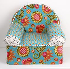Gypsy Baby's 1st Chair is a light weight foam chair covered in bright, fun fabrics. The chairs are coordinated to match crib bedding from the Cotton Tale line. These little chairs are great fun for baby and a special addition for the nursery, measuring 16 x 18 x 17. Cotton cover has a zipper and is machine washable in cold water, delicate cycle. Hang to dry. Perfect for your little girl. http://www.cottontaledesigns.com/products/gypsy-babys-first-chair