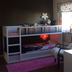 Ikea Kura bed DIY Painted white and with wallpaper from Bråkig collection (2014)