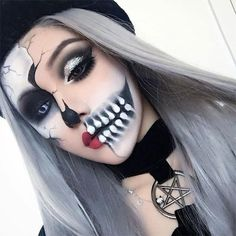 15 Scary Halloween mouth-teeth-Half-face makeup for Girl Women – Halloween Make Up Ideas Half Skull Makeup, Half Face Makeup, Half Skeleton Makeup, Skull Makeup Tutorial Half, Visage Halloween, Scary Halloween, Girl Halloween, Halloween Costumes, Fx Makeup