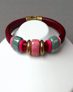 Bordeaux Leather Bangle Bracelet with Antiqued Brass Finish Slide Stations, Rose, Teal Ceramic Bead Components, and Magnetic Clasp Cosure by OrnateElements on Etsy https://www.etsy.com/listing/189115582/bordeaux-leather-bangle-bracelet-with