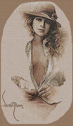 Gina by Sara Moon created by Artecy Cross Stitch Hobbies And Crafts, Hand Stitching, Cross Stitch Patterns, Erotic, Painting, Gallery, Moon, Art, Watch