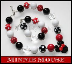 SALE SALE Minnie Mouse  Girls  Chunky bubblegum necklace red  by GirlyGirlzBoutique12, $12.50