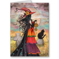 A beautiful card for Halloween that you can personalize.  Halloween Witch Black Cat Graveyard Fantasy Art Card