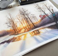 Tagged with , , Creativity, ; Shared by Watercolor painting by Leow Drawing Class Art Watercolor, Watercolor Landscape, Watercolor Illustration, Landscape Paintings, Landscapes, Beautiful Paintings, Painting Inspiration, Painting & Drawing, Amazing Art