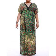 Plus Size Empire Waist Print Maxi Dress