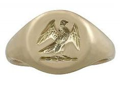 18k Yellow Gold Signet Ring - Antique 1920 SKU: A7771 #goldsignetring #antiquesignetring
