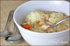 Chicken soup with chive dumplings from Very Culinary
