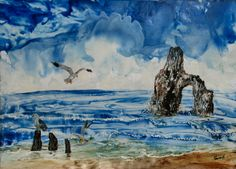 """Seagulls and sea arch.  Encaustic wax painting on paper, A3 ie 11""""x 16"""" Just because I like sea scapes"""