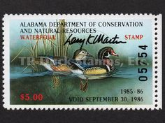 1985 Wood Ducks  Artist: Larry Martin  Artist-signed Alabama Dept of Conservation and Natural Resources Stamp