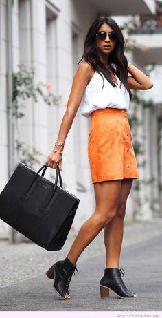 White tank and orange skirt, love the bag too