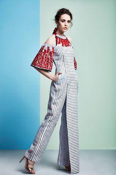 White striped jumpsuit with red bell sleeves Indian Designer Outfits, Designer Dresses, Designer Jumpsuits, Jumpsuit Dress, I Dress, African Fashion, Indian Fashion, Batik Fashion, Batik Dress
