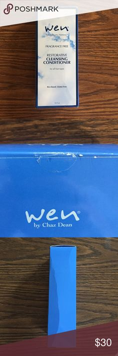 Wen by Chaz Dean Restorative Cleansing Conditioner 16 oz Fragrance Free Wen Restorative Cleansing Conditioner. Brand New, box unopened, though box is a little bent. See photos for proof. Website sells it for $40. Wen by Chaz Dean Other