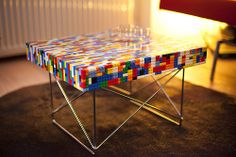 Lego table art designed for durability Concrete Table, Concrete Wood, Lego Table, Kid Table, Lego Furniture, Upcycled Furniture, Resin Table, Glass Table, Lego Room