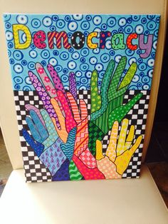 British Values democracy canvas Nicky Jevon Ledbury Primary School British Values Eyfs, British Values Display, Class Displays, School Displays, Classroom Displays, Primary Activities, Art Activities, Rights Respecting Schools, Value Drawing
