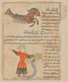 """Qazwini's """"Aja'ib al-Makhluqat: Reverse: Capricorn and Aquarius - Persian or Indian, Deccani about 1570 Object Place, Possibly Bijapur, Deccan, Southern India or Iran DIMENSIONS .254 x .322 m.  ACCESSION NUMBER 30.210  MEDIUM OR TECHNIQUE Ink, opaque watercolor, and gold on paper"""